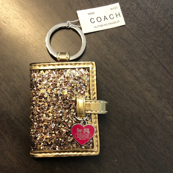 NWT Coach Glitter Picture Key Chain